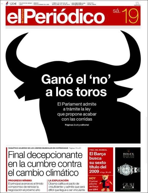 Primera de El Periódico, 19 diciembre 2009